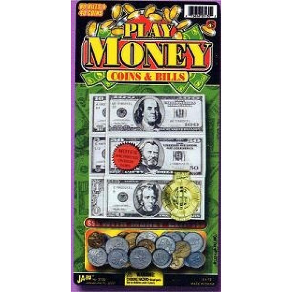 PLAY MONEY COINS & CASH (1 PIECE)