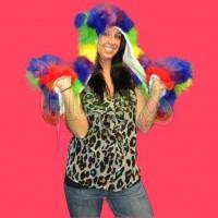 ULTRA FUZZY ANIMAL HAT WITH PAWS - RAINBOW