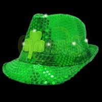 St. Patty's Day Flashing Green Shamrock Fedora (1 PIECE)