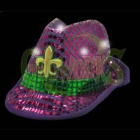 Mardi Gras Flashing Purple with Gold Fedora Hat (1 PIECE)