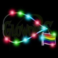Rainbow Flag Flashing Charm with Flashing Lanyard (1 PIECE)
