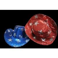 FLASHING SEQUIN STAR COWBOY HAT RED/BLUE/BLACK ASSORTED (1 PIECE)