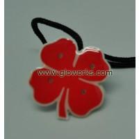 4 LEAF RED CLOVER FLASHING MAGNETIC LED PIN (1 DOZEN)