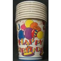 9oz HAPPY BIRTHDAY PAPER CUPS