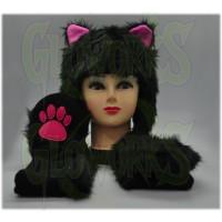 FUZZY LONG ANIMAL HAT - BLACK CAT (1 PIECE)