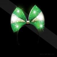 LIGHT UP SEQUIN BOW HEADBAND GREEN/WHITE (1 PIECE)