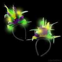 MARDI GRAS LED MINI HAT ON HEADBAND WITH FEATHERS (1 PIECE)