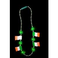 LED FLASHING BEAD NECKLACE WITH IRISH FLAGS (1 PIECE)