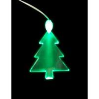 ACRYLIC LED GREEN TREE NECKLACE ON NON-FLASH LANYARD (1 PIECE)