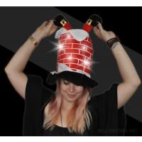 LED FLASHING CHIMNEY HAT WITH SANTA LEGS (1 PIECE)
