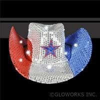 RED/WHITE/BLUE FLASHING SEQUIN COWBOY HAT  (1 PIECE)