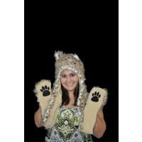 FUZZY LONG ANIMAL HAT - SNOW LEOPARD (1 PIECE)