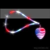 USA HEART FLASHING LANYARD (1 PIECE)