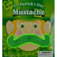 NON-FLASHING GREEN ST. PATRICK'S DAY MUSTACHE (1 PIECE)