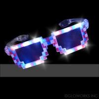 LED FLASHING RED/WHITE/BLUE PIXEL GLASSES (1 PIECE)