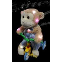 "ASSORTED STYLE 13"" MUSICAL LED PLUSH BEAR ON BIKE (1 PIECE)"
